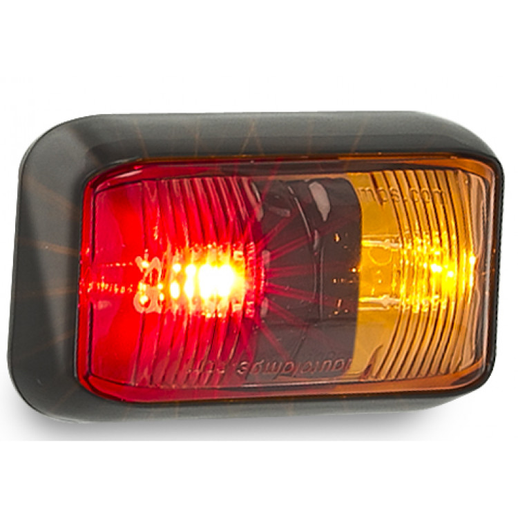 LEDAUTOLAMPS LED Budget Side marker lamp, 2 LEDs with clip in lens and no visible screws.