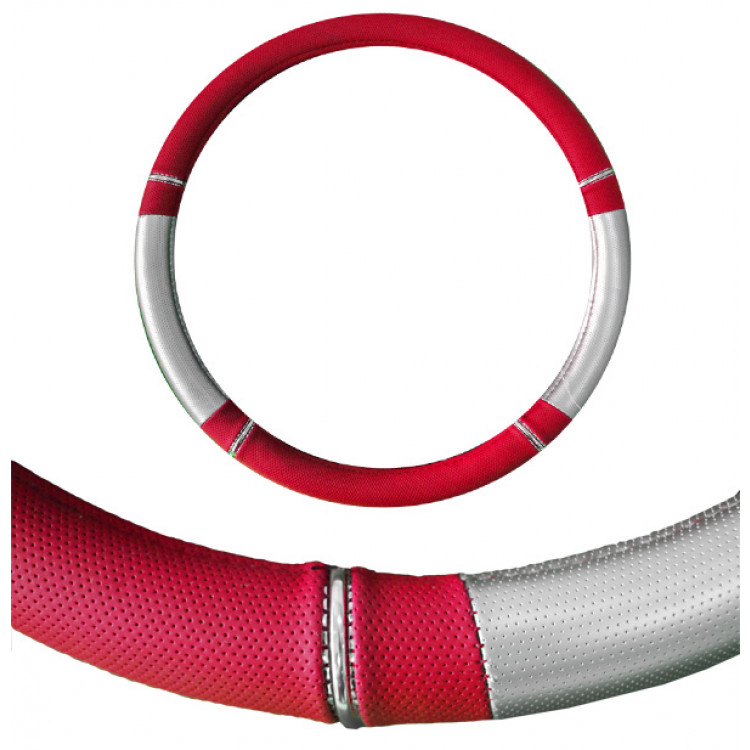 Seat Cover World Steering Wheel Cover - Medium 15inch - Nitro Red