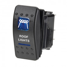12 VOLT ILLUMINATED OFF/ON SEALED ROCKER SWITCH WITH ROOF LIGHTS SYMBOL BLUE