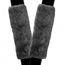 Seat Cover World Sheepskin - Seat Belt Comforters - 1 Pair - Charcoal