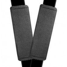 Seat Cover World Seat Belt Protectors - 1 Pair - Chrome Mesh Black