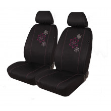 SEAT COVER 30/50 STUDDED FLOWER BLACK