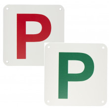 PLASTIC P PLATES WHITE/RED & WHITE/GREEN