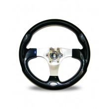 Autotecnica Monza Steering Wheel, 350mm, 3 Polished Spokes and Carbon Inserts